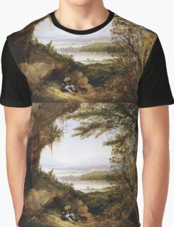 James Hamilton - Scene On The Hudson . Mountains landscape: mountains, rocks, rocky nature, sky and clouds, trees, peak, forest, rustic, hill, travel, hillside Graphic T-Shirt