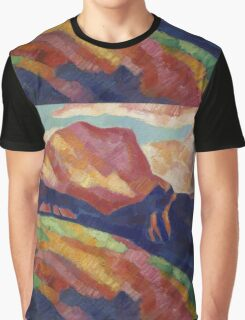 Marsden Hartley - Mont Sainte-Victoire. Mountains landscape: mountains, rocks, rocky nature, sky and clouds, trees, peak, forest, rustic, hill, travel, hillside Graphic T-Shirt