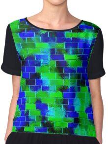 BRICK WALL SMUDGED (Blues & Greens)-(9000 x 9000 px) Chiffon Top