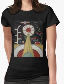 Marsden Hartley - Painting No. 3. Abstract painting: abstract art, geometric, expressionism, composition, lines, forms, creative fusion, spot, shape, illusion, fantasy future Womens Fitted T-Shirt