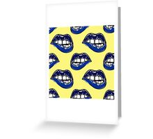 Sexy fatal biting lips seamless pattern Greeting Card