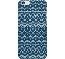 Christmas blue knitting pattern iPhone Case/Skin