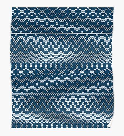 Christmas blue knitting pattern Poster