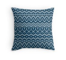 Christmas blue knitting pattern Throw Pillow