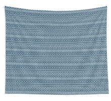 Christmas blue knitting pattern Wall Tapestry