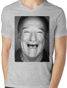 robin williams black and laugh Mens V-Neck T-Shirt