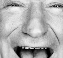robin williams black and laugh Sticker
