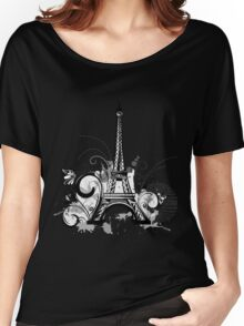 Eiffel tower with floral and grunge Women's Relaxed Fit T-Shirt