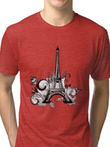 Eiffel tower with floral and grunge Tri-blend T-Shirt