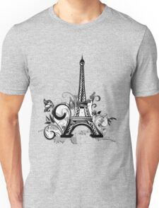 Eiffel tower with floral and grunge Unisex T-Shirt