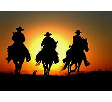 Cowboys Riding Home After A Wrangler Day Photographic Print