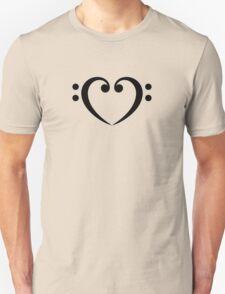 Bass Clef Heart, Music, Musician, Party, Festival, Dance Unisex T-Shirt