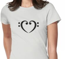 Bass Clef Heart, Music, Musician, Party, Festival, Dance Womens Fitted T-Shirt