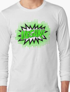 Go Vegan, Comic Book Style Long Sleeve T-Shirt