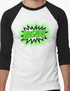 Go Vegan, Comic Book Style Men's Baseball ¾ T-Shirt