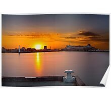 Sunrise at Princess Pier viewing the Spirit of Tasmania Cruise ship at St Kilda, Victoria, Austarlia Poster