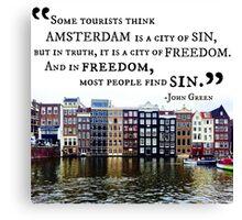 Amsterdam John Green Quote Canvas Print