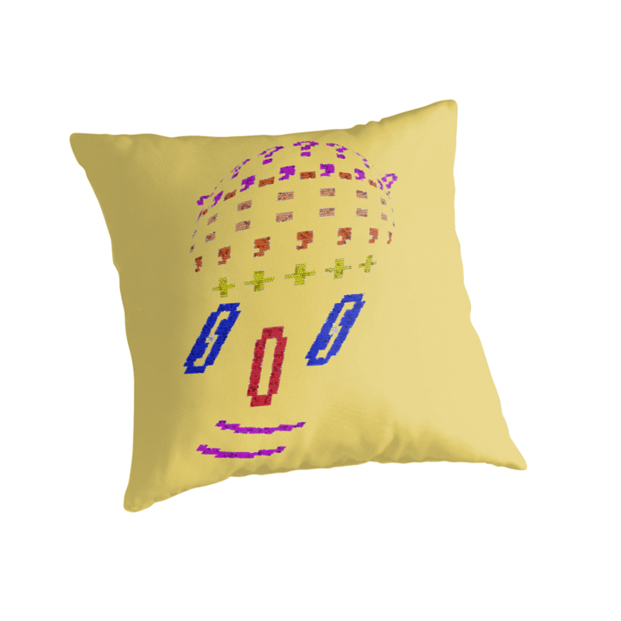 TYPED clown FACE - pillow collection by James Lewis Hamilton