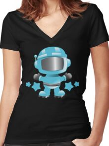 Little cute Space man in a Blue space suit Women's Fitted V-Neck T-Shirt