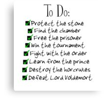 Harry Potter Checklist Canvas Print