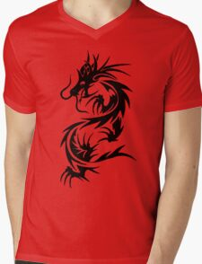 Chinese Tribal Dragon Mens V-Neck T-Shirt