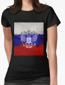 Russia Flag Paint Grunge Design Womens Fitted T-Shirt