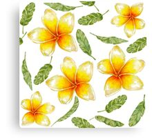 pattern with tropical flowers and banana leaves  Canvas Print