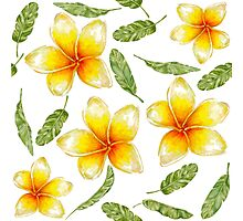 pattern with tropical flowers and banana leaves  Photographic Print