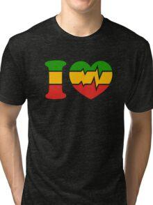 I Love, Reggae, Rastafari, Africa, Jah, Jamaica,  Tri-blend T-Shirt