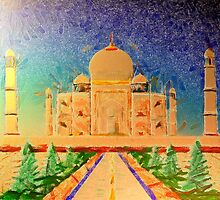 A digital painting of The Taj Mahal by Dennis Melling