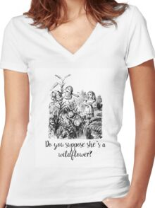 Do you suppose she's a wildflower? Original illustration.  Women's Fitted V-Neck T-Shirt