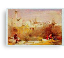 a digital painting of The Pool of Bethesda Jerusalem by David Roberts 1839 Canvas Print