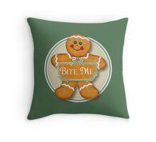 Bite Me Gingerbread Man Throw Pillow