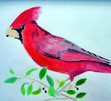 Beautiful red bird drawing by JoAnnFineArt