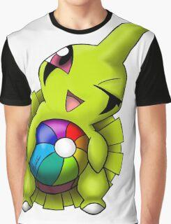 Shiny Larvitar w/ Beach Ball Graphic T-Shirt