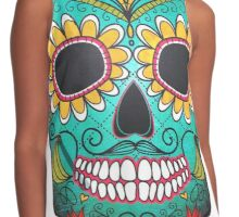 Mexican Skull Sugar Red Moustache Contrast Tank
