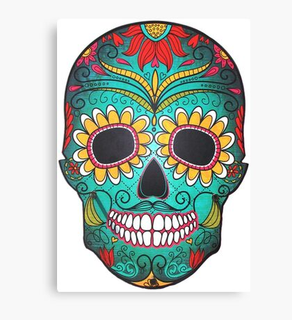 Mexican Skull Sugar Red Moustache Canvas Print