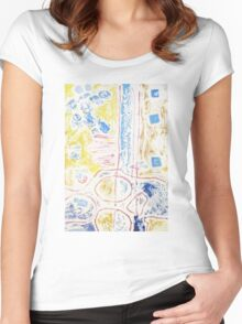 Collagraph Print Women's Fitted Scoop T-Shirt