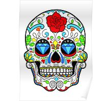 Mexican Skull Sugar Red Rose Poster