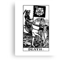 Black and White Death Tarot Card  Canvas Print
