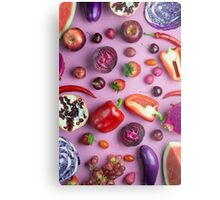 Red food on pink Metal Print
