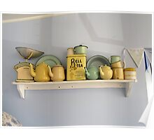 Teapots and Friends on a Shelf Poster
