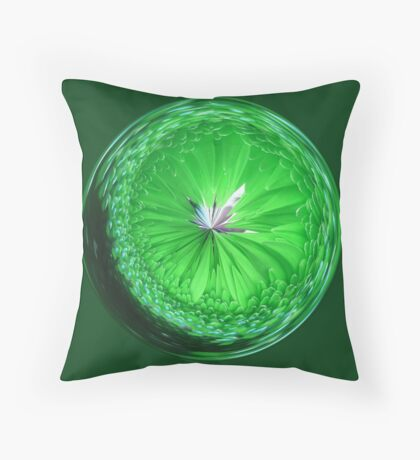 Fantasy Glass Orb in Orange Throw Pillow