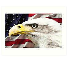 Old Glory - American Bald Eagle Art Print