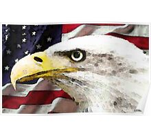 Old Glory - American Bald Eagle Poster