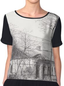 Hand drawn historical architecture Chiffon Top