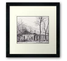 Hand drawn historical architecture Framed Print