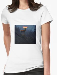 Horns on fire Womens Fitted T-Shirt