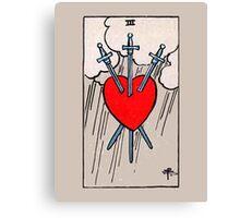 Three of Swords Tarot Card  Canvas Print