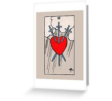 Three of Swords Tarot Card  Greeting Card